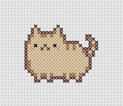 Pudge Kawaii Cat Cross Stitch (Printable PDF Pattern) - Immediate Download from Etsy - Cute Cat / Kitten / Kitty Pusheen - ThatsSewEllie