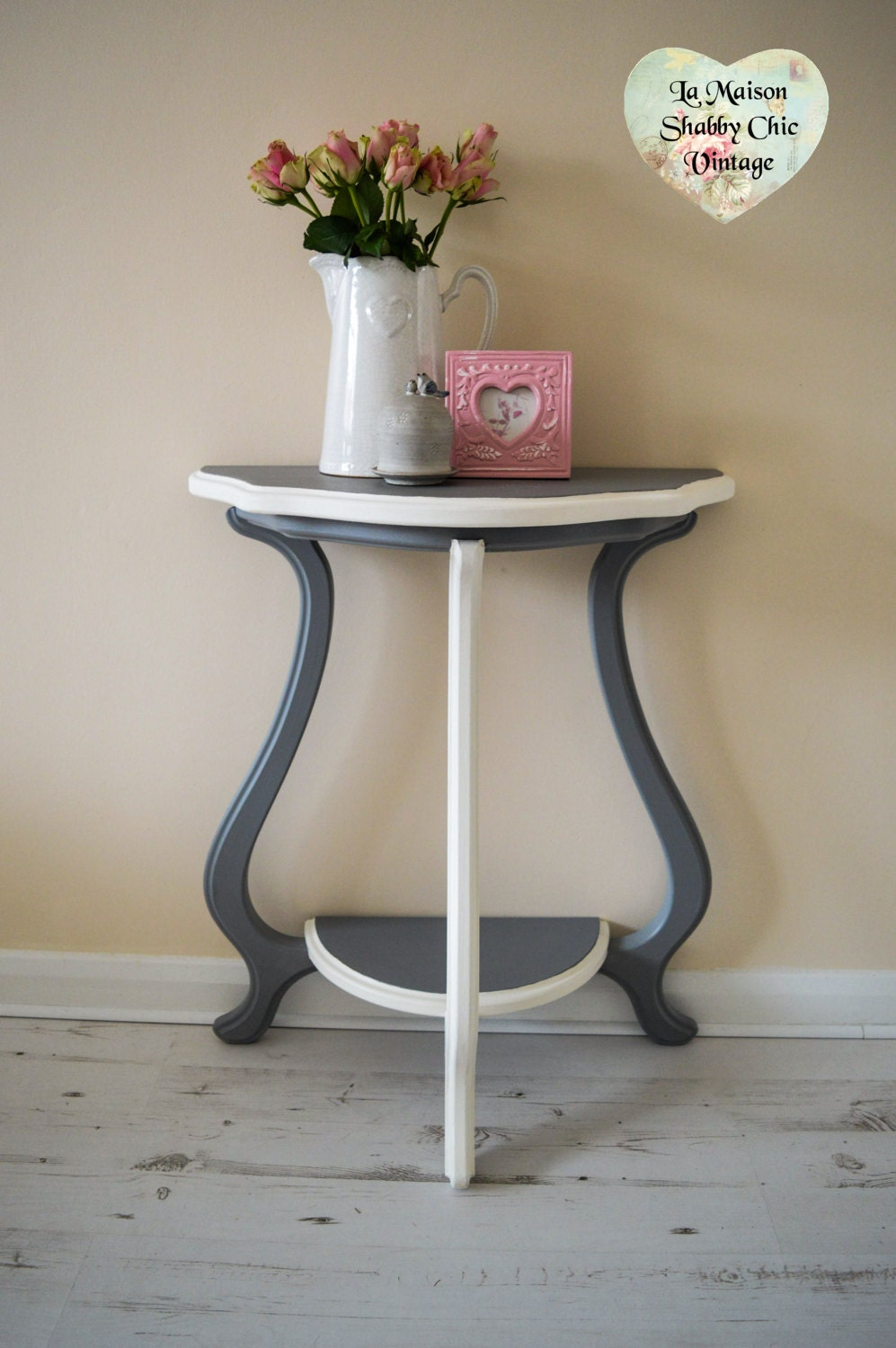 Console Table Grey  White FREE 20 Mile Delivery Wood Half Moon Demilune Shabby Chic  FREE Delivery within 20mile radius of EN3