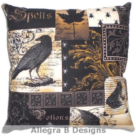 Gothic Raven Pillow Victorian Steampunk Home Decor By Allegrab
