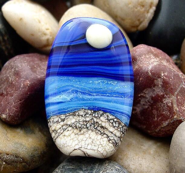 Turbulent Sky - Full Moon Ocean Landscape Themed Focal Bead - SRA Glass Lampwork Beads - artwithheart