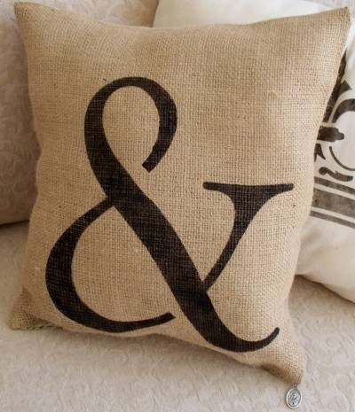 French Style Petit Coterie Ampersand Burlap Pillow