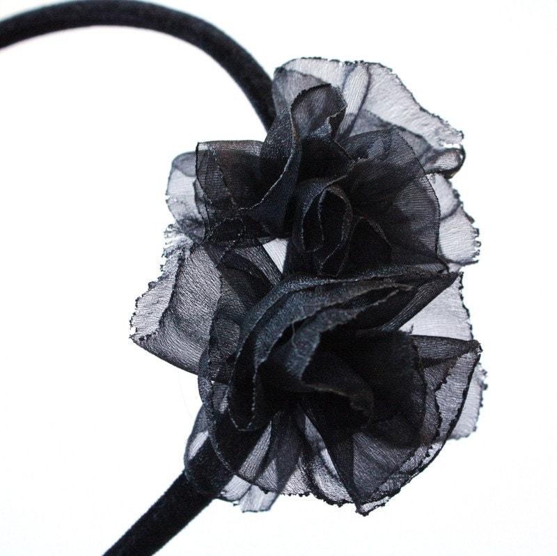 Parker  Black Organza Ruffled Flower Headband by VieModerne from etsy.com