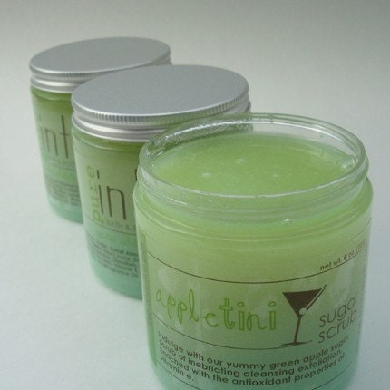 Handmade Bath and beauty on Etsy - Appletini Exfoliating Sugar Scrub 8 oz. by PureIntox from etsy.com