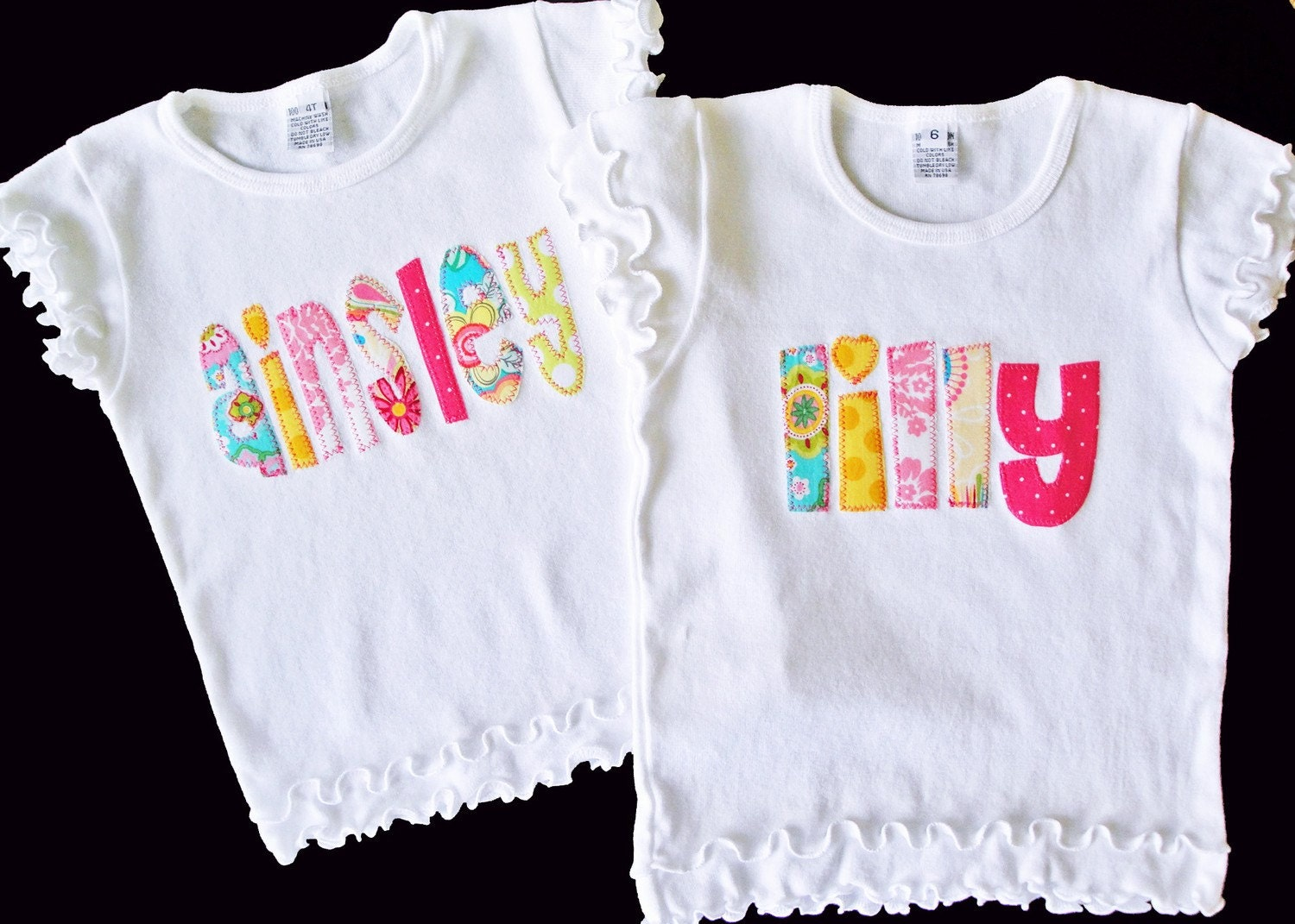 Ruffled Personalized Name Shirt Custom Made For Your Little One 12m to 6Y