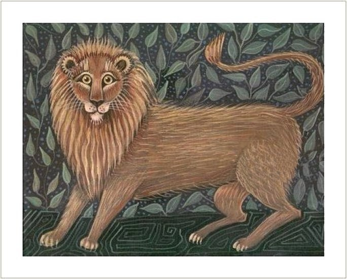 LION in FOREST     Signed Folk Art Painting Print  JUNGLE KING Wendy Presseisen