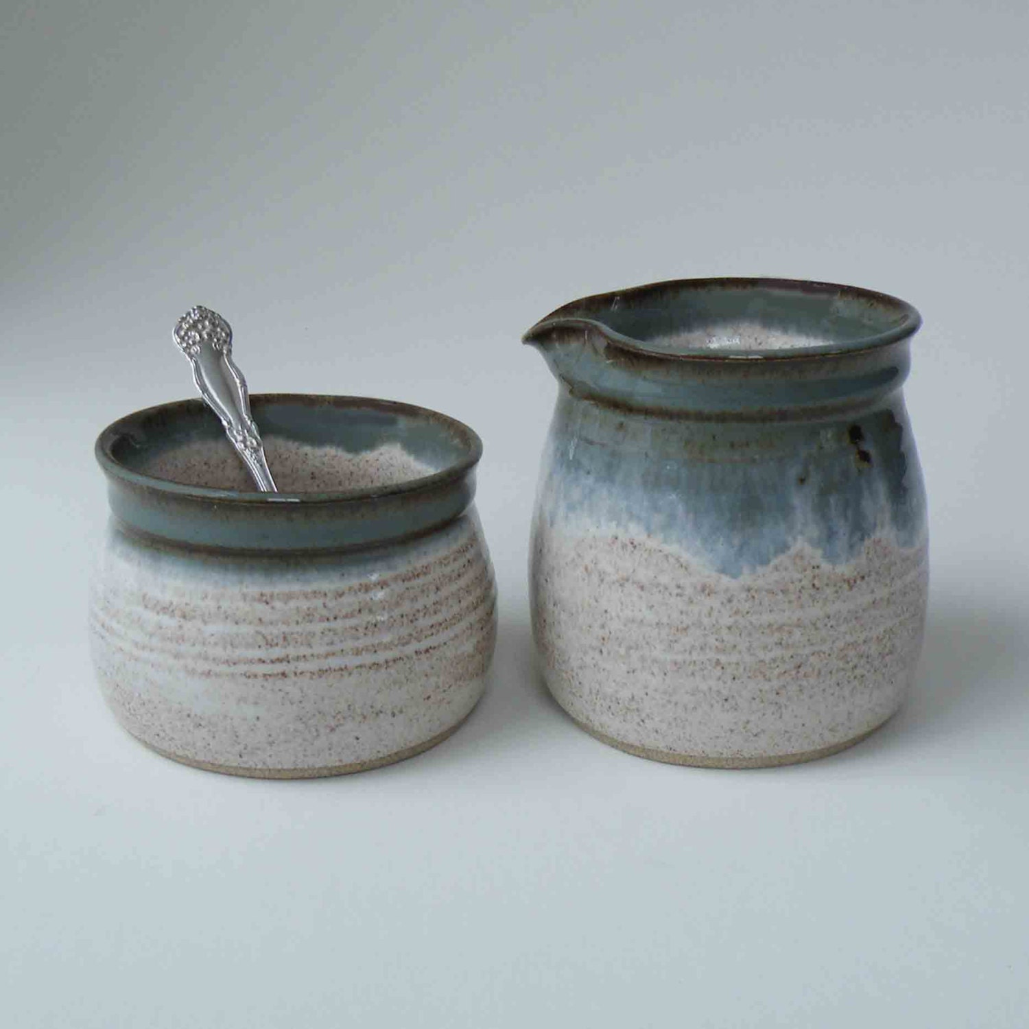 Wedding Gift - Creamer and Sugar Set with Silverplate Spoon -  Blue Gray and Speckled White Pottery Set of 2 - Sugar and Creamer Set