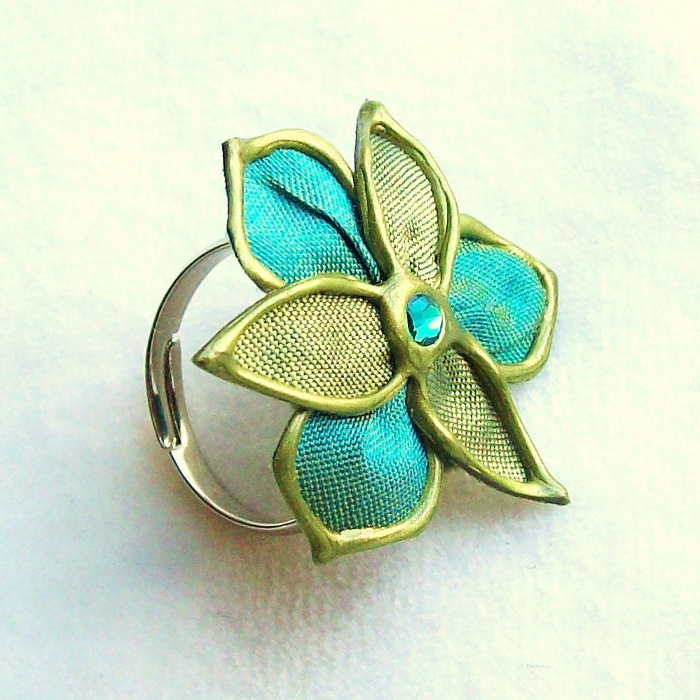 Sea Me fabric flower ring - large