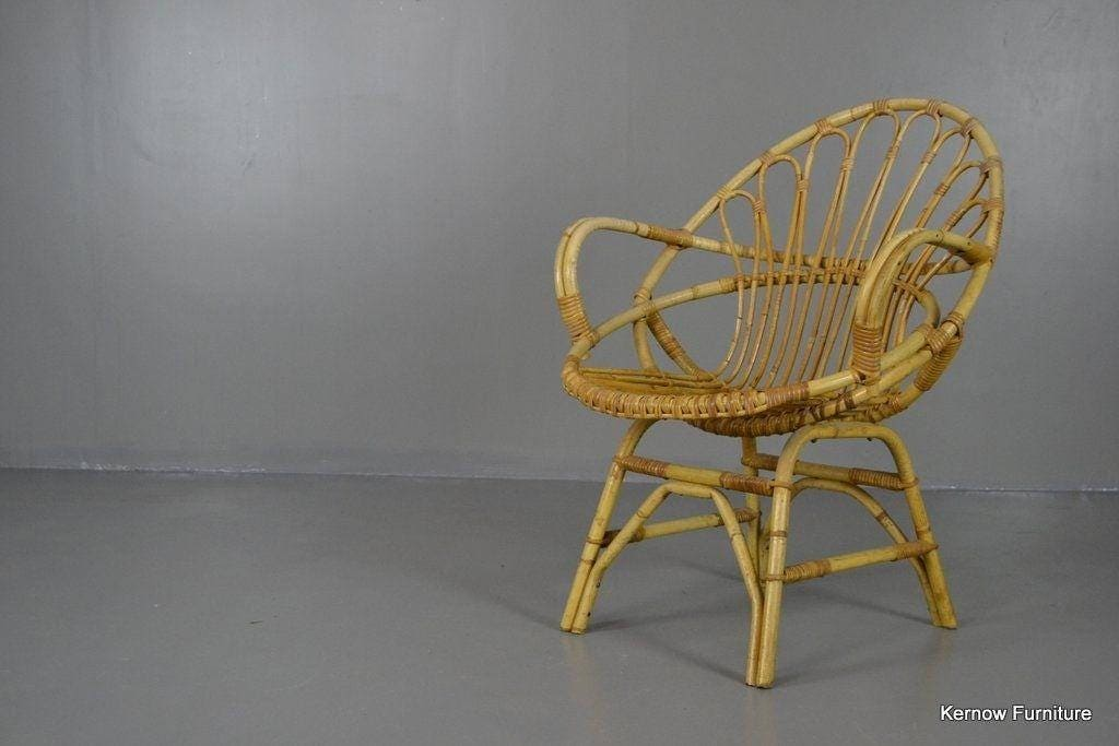 Retro Cane Boho Albini Style Bedroom Chair Small Lounge Chair