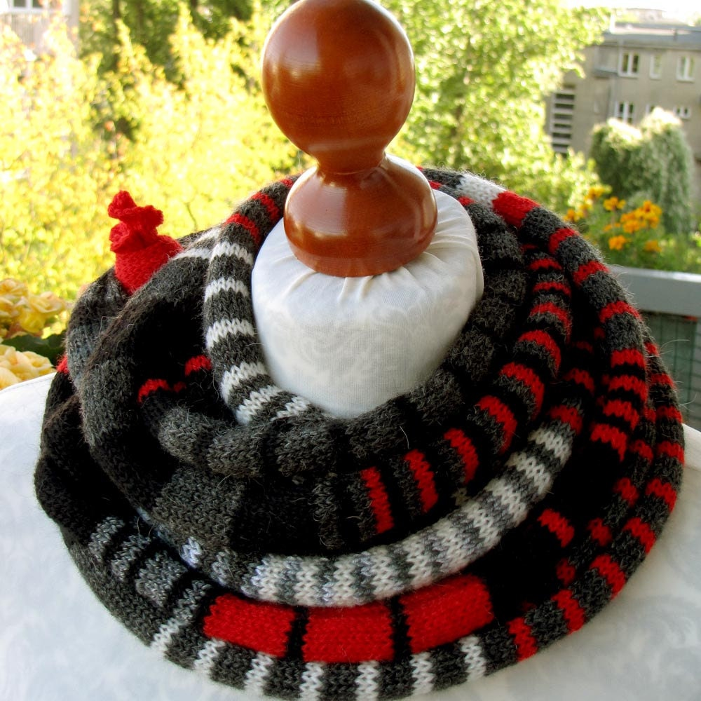 New Item, The Black/Red/Grey SSScarf (the SSSnake SSSleeping Bag), OOAK, Ready to Ship