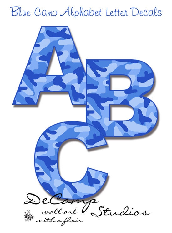Blue camo alphabet letter wall decals kids room by for Camo kids room