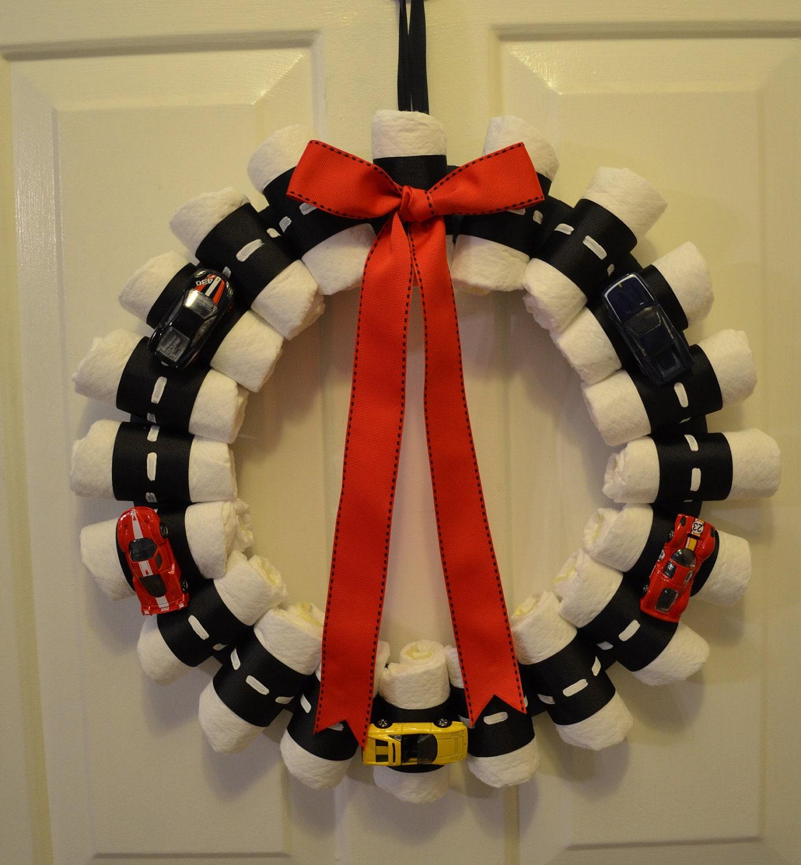 Hot Wheels Diaper Wreath