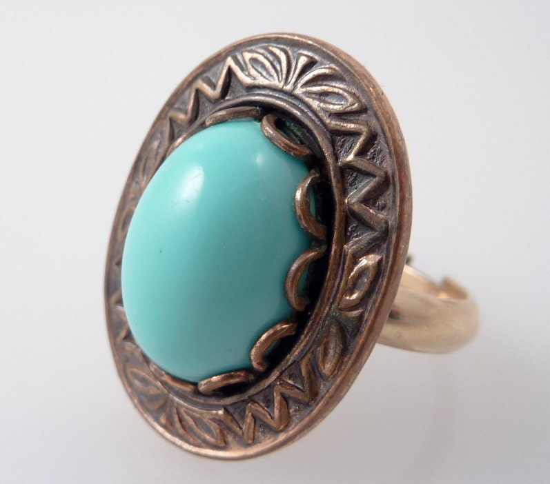 SALE ---- Vintage Adjustable 12K Gold Filled Band And Faux Turquoise Ring - MindiLynJewelry