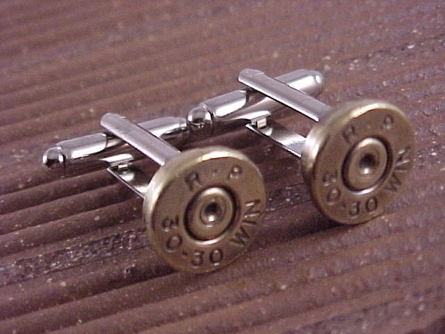 30-30 Rifle Bullet Cuff Links Brass Shell Recycle Repurpose Upcycle - Free Shipping to USA