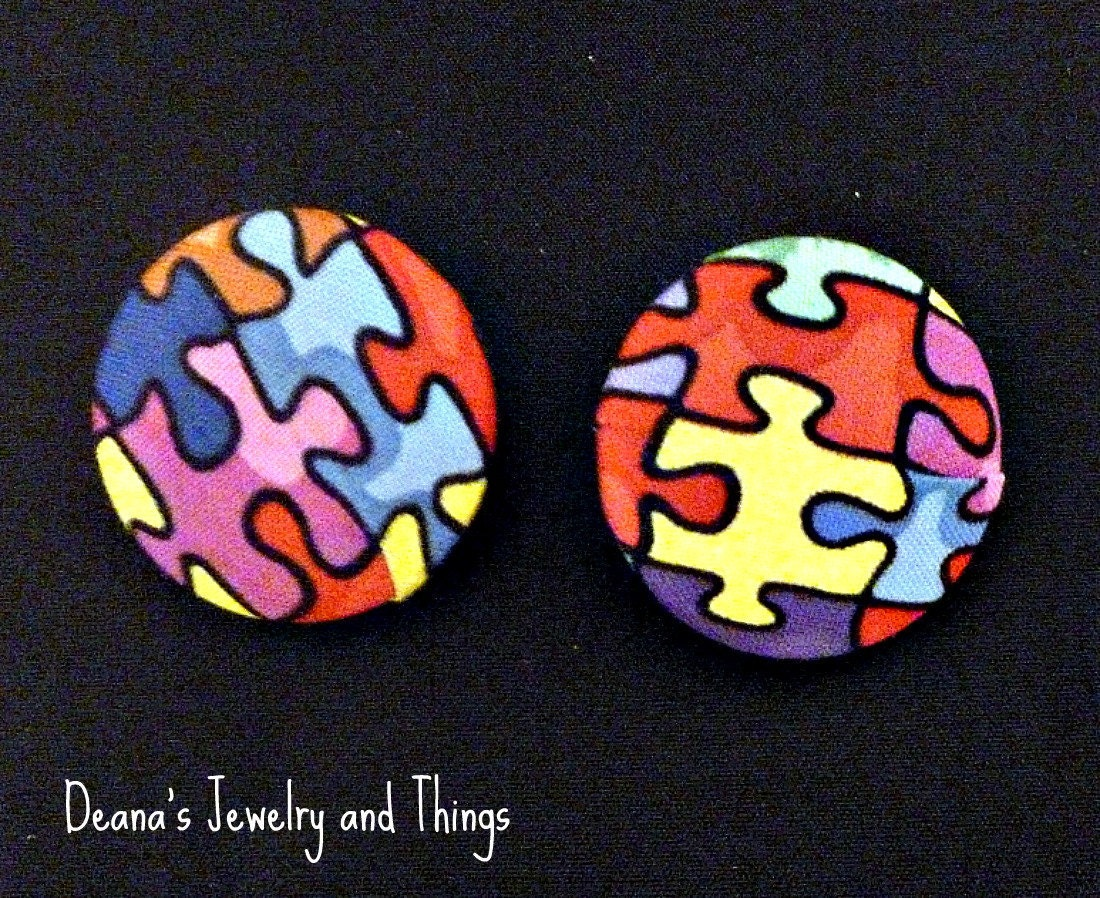 Puzzle Fabric Button Earrings 1 1/2""