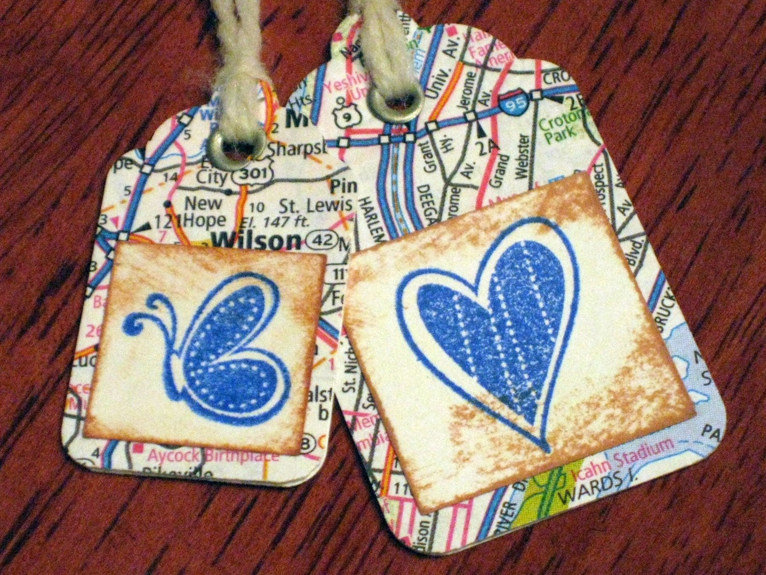 Set of 8 Upcycled Map Heart and Butterfly Tags Stamped and Layered