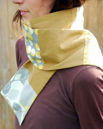Scarf - grey leaves and that good kind of yellow