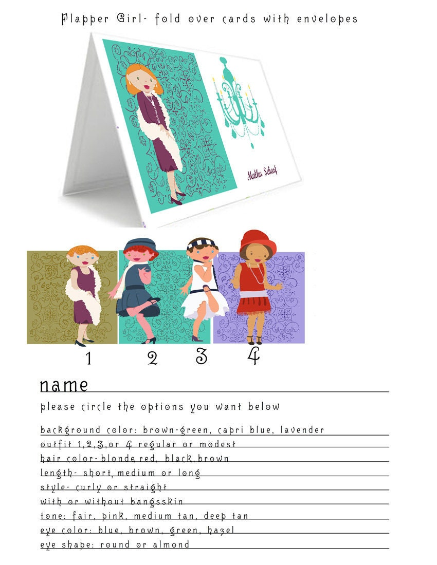 Custom Create Flapper Girl Stationery- 20 Fold Over Note Cards (comes with envelopes)