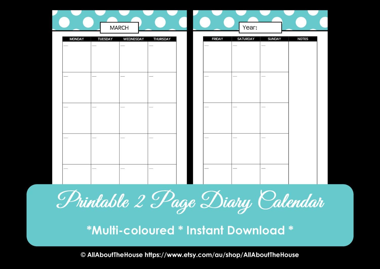Printable Perpetual - Polka Dot Calendar - 2013-2014 Calendar - 2 page ...