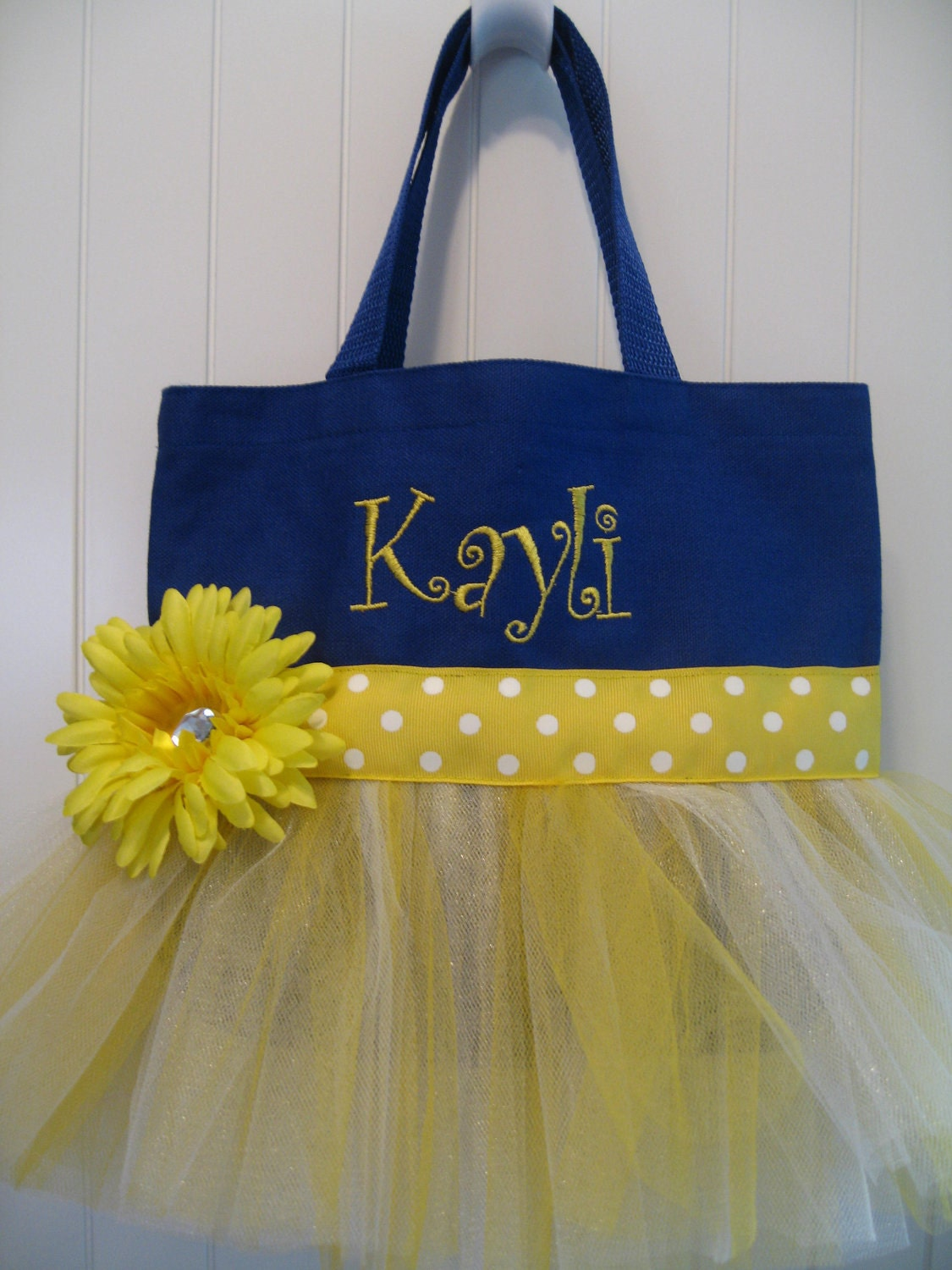 Embroidered Flower Girl Bag - Navy blue and yellow