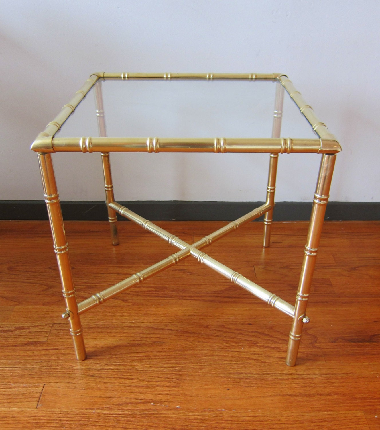Brass Bamboo Side Table Hollywood Regency Styling