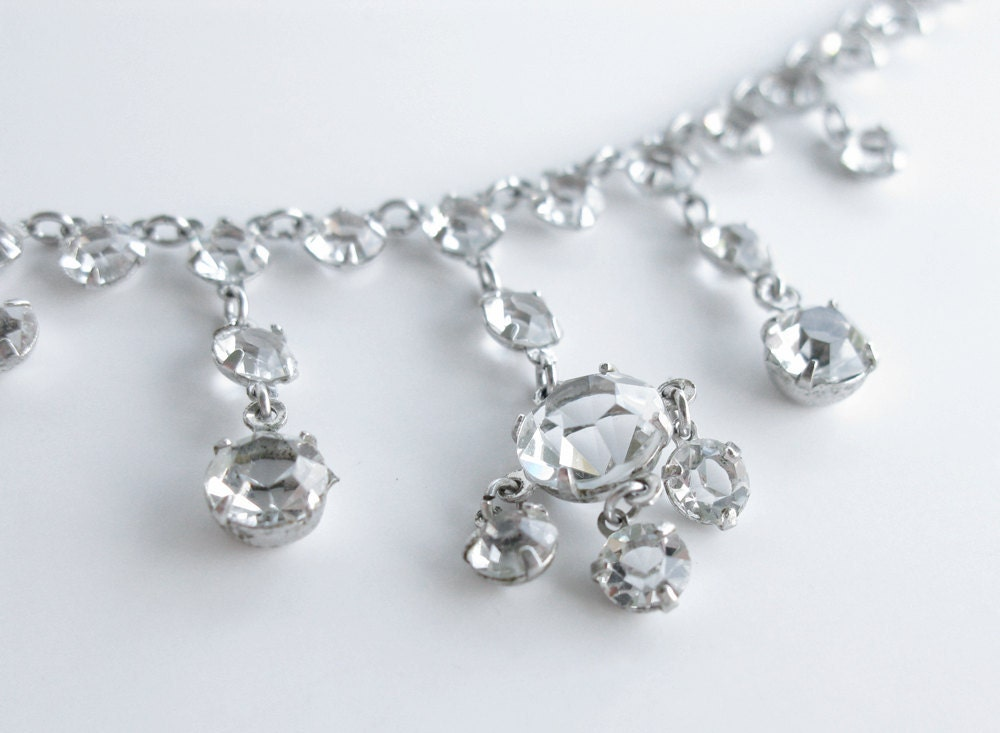 Vintage Clear Faceted Crystal Necklace