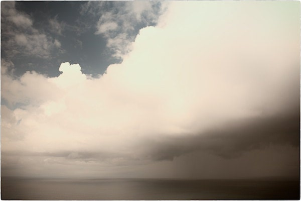 Cornish Seascape - sun, sea, clouds, sky, rain - soft blues, browns, greys - 8x12 print on thick high-quality paper - matthewbull