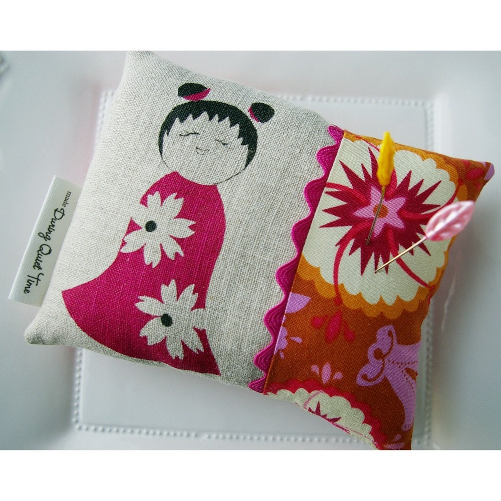Kokeshi Doll Silk Screened Pincushion