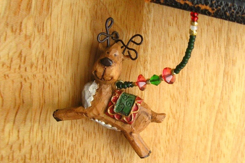 HOLIDAY SALE Beaded Reindeer Bookmark