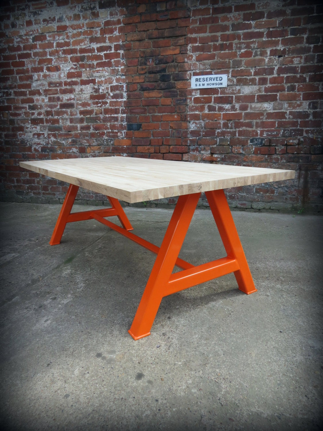 Modern Industrial Chic Solid OAK A Frame Dining Table Orange. Hand Made steel Custom Bespoke Home Decor Conference Officereclaimed 200