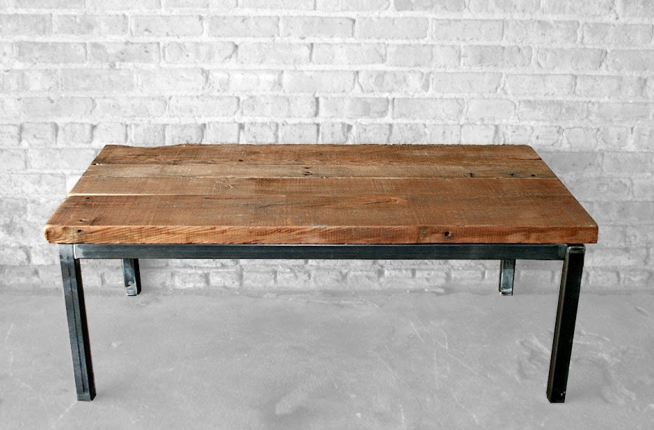 Reclaimed Wood And Metal Coffee Table The Post Coffee Table
