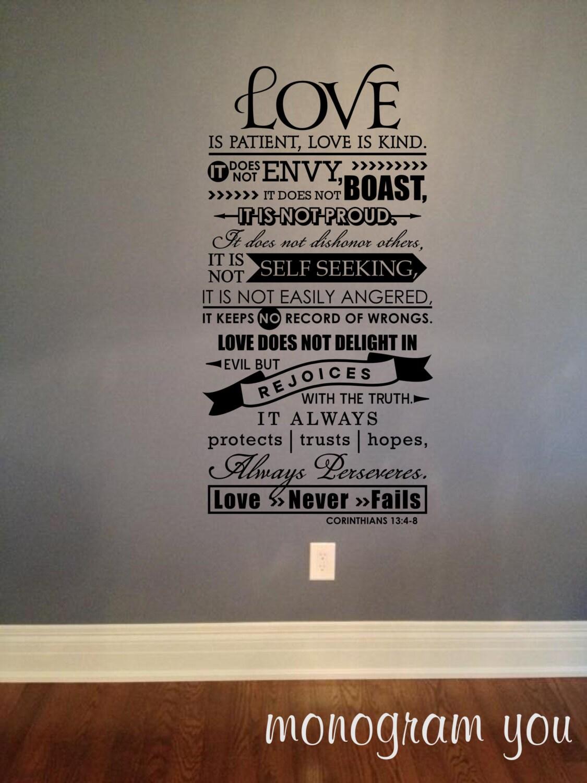 1 Corinthians 13 4 8 Vinyl Wall Decal