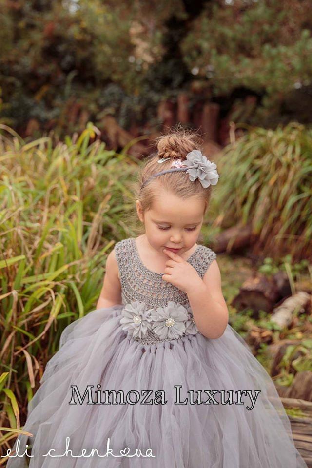 Silver Gray Grey Flowergirl dress tutu dress bridesmaid dress princess dress silk crochet top tulle dress hand knit silk top tutu dress