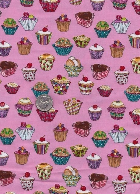 NEW - Fat quarter - Cupcakes in Pink - Michael Miller - cotton quilt fabric