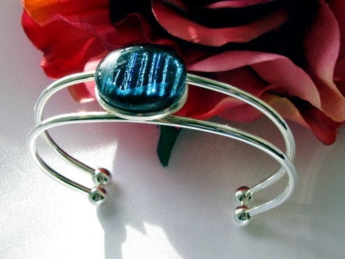 Handmade Silver Cuff Bracelet with Black Striped Fused Dichroic Glass
