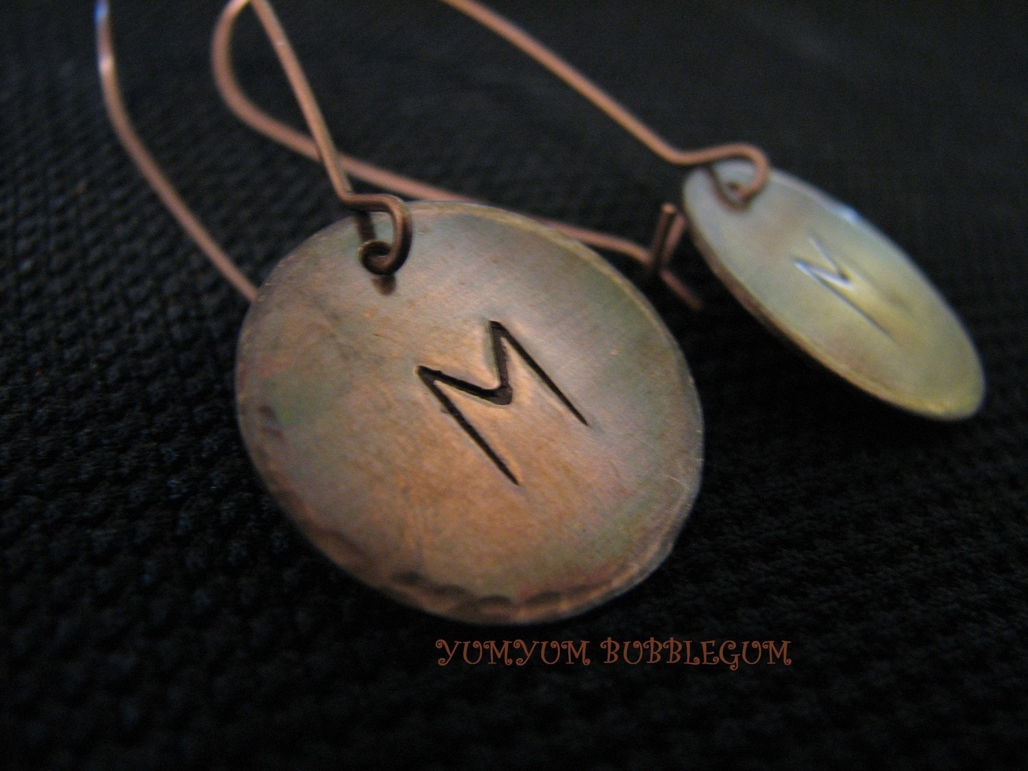 HANDSTAMPED OXIDIZED 3/4 INCH COPPER DISC INITIAL EARRINGS WITH HAMMERED EDGES