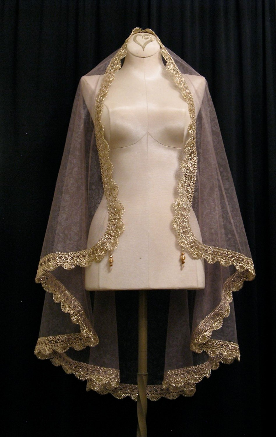 ... Gold French Tulle Wrist Length Mantilla Wedding Veil - One Of A Kind