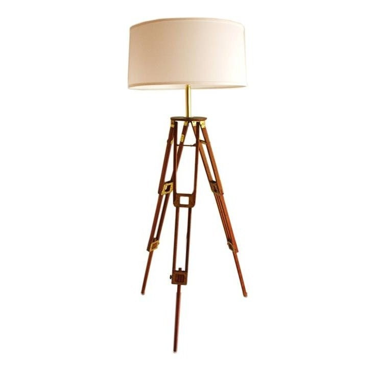 antique wood and brass tripod floor lamp by highstreetmarket With antique wood tripod floor lamp