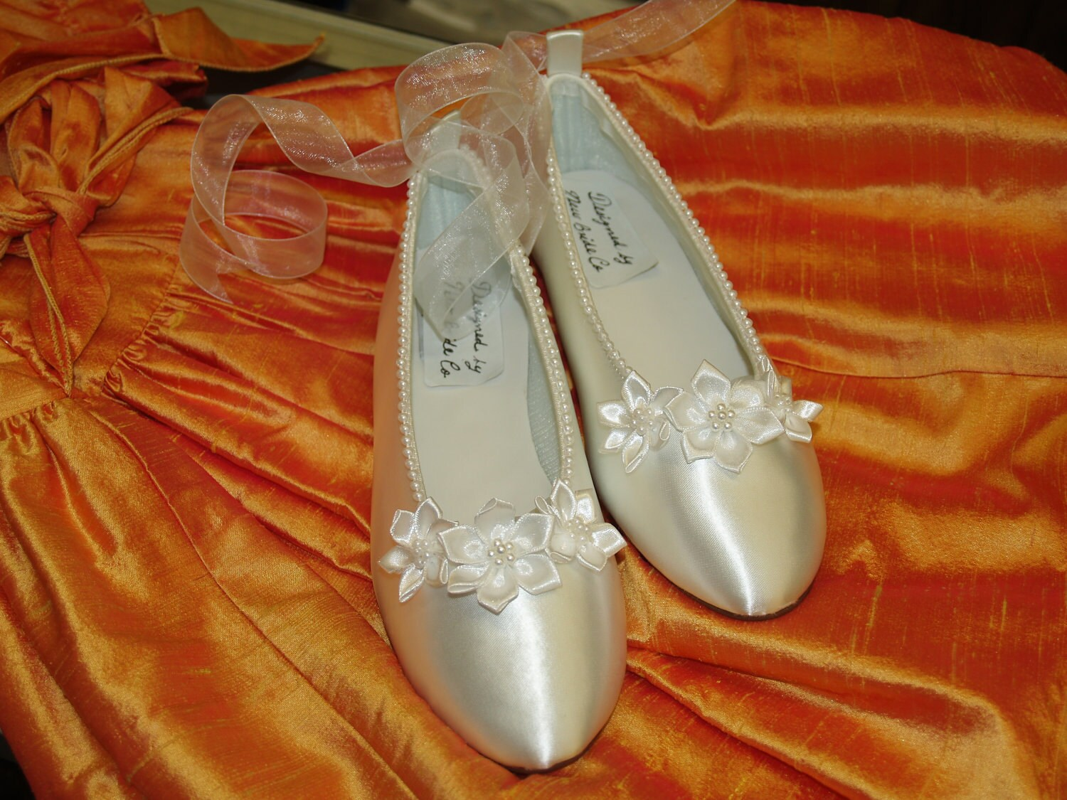 Wedding Ballerina Shoes White Satin hand sewn pearls edging and satin flowers