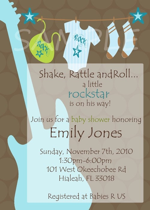 items similar to rockstar baby shower boy guitar invitations on etsy