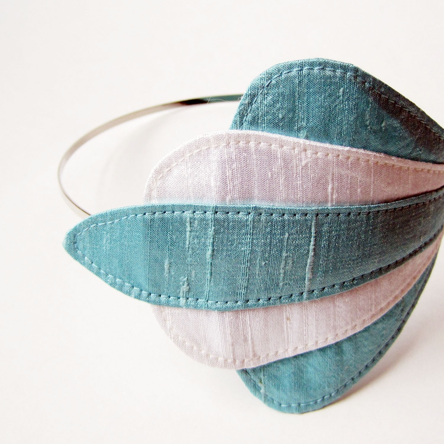 Aqua and White Silk Dupioni Headband FRESH