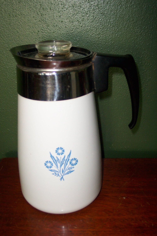 Corningware Cornflower Blue 9 Cup Percolator Coffee By