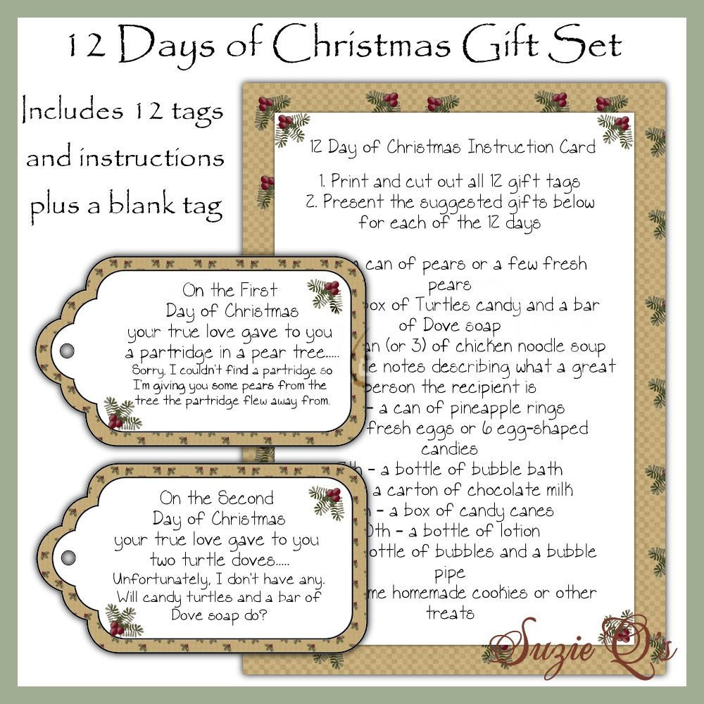 Delicate image pertaining to 12 days of christmas printable tags