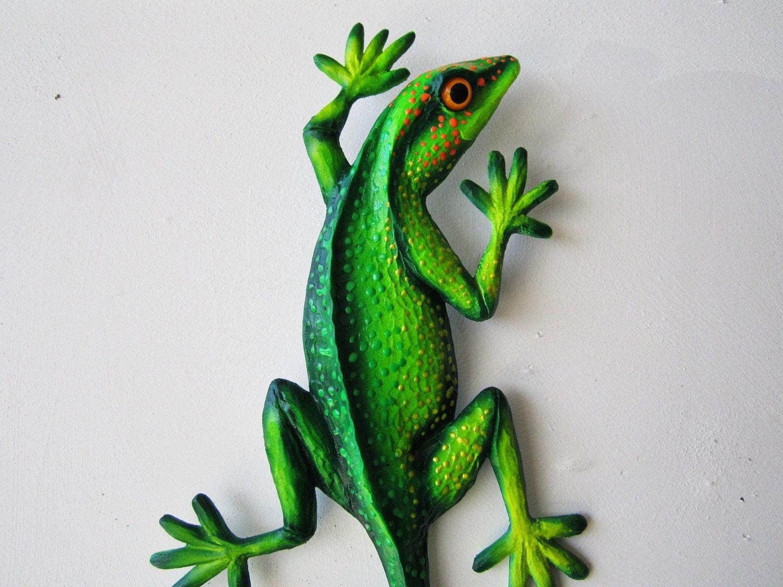 Reptile art lizard sculpture gecko wall decor by artistjp for Gecko wall art