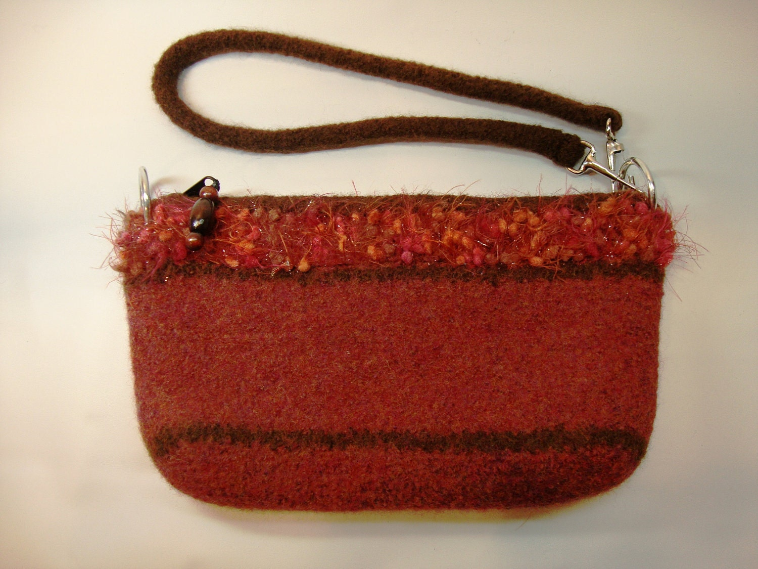 Rosy rust felted purse with lining and pockets