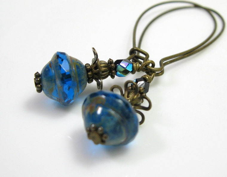 Vintage Style Jewelry Vintage Style Earrings Sapphire Czech Glass