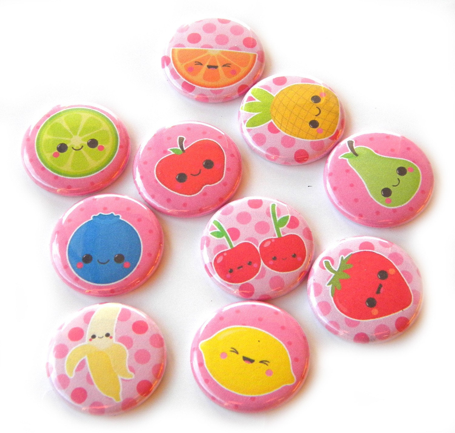 10 Kawaii Fruit Flat Back Buttons