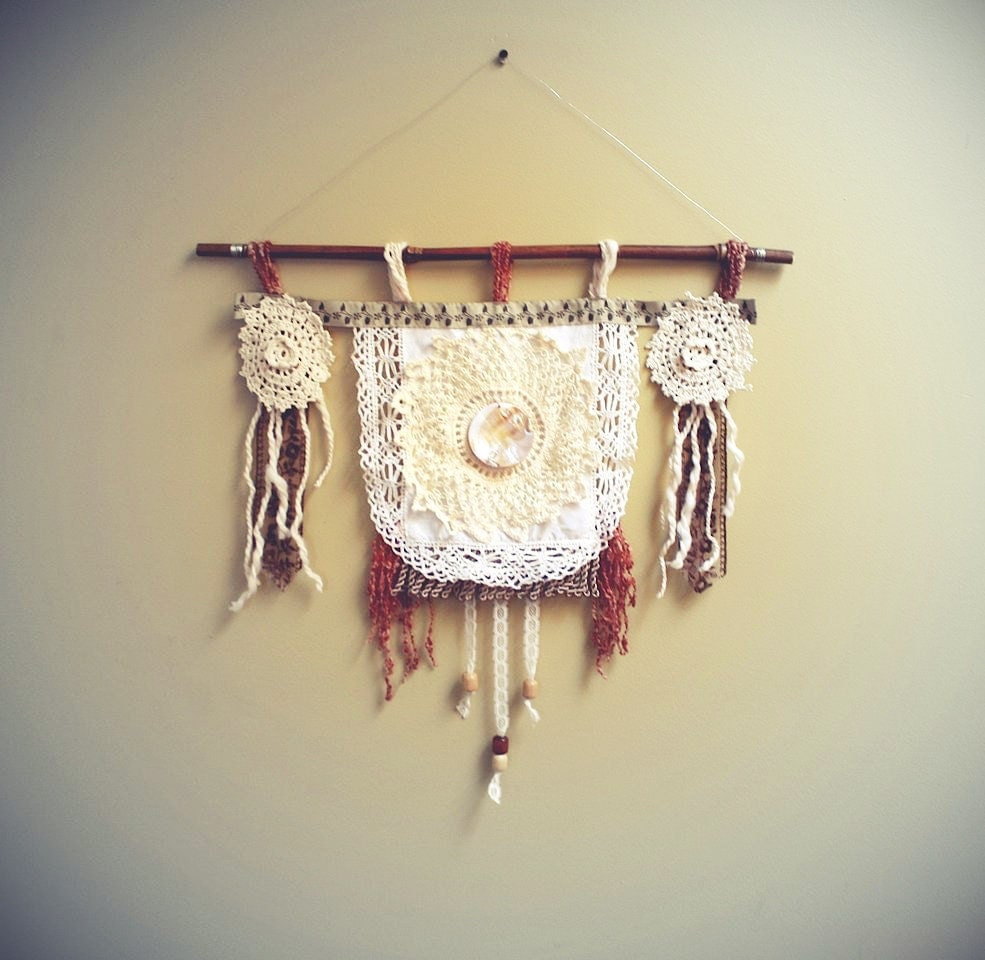 Vintage Doily Wall Hanging Cream Lace Rust Fringe Tribal Style Rustic Art Home Decor Southwestern - BrokenGhostClothing
