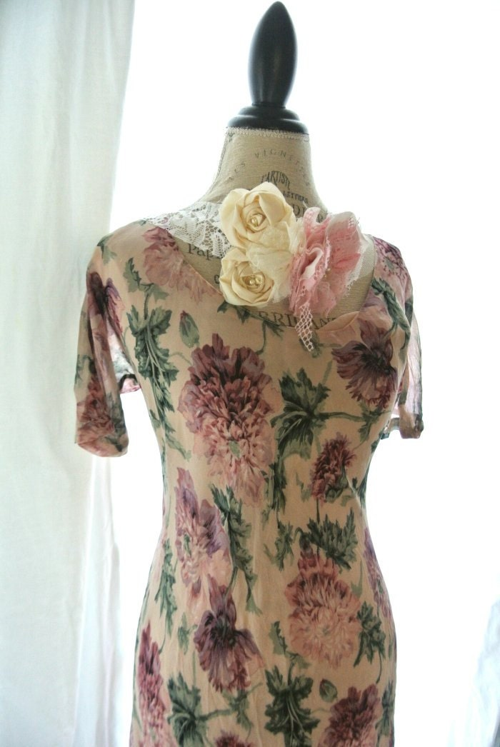 vintage dress shabby pink floral dress by truerebelclothing
