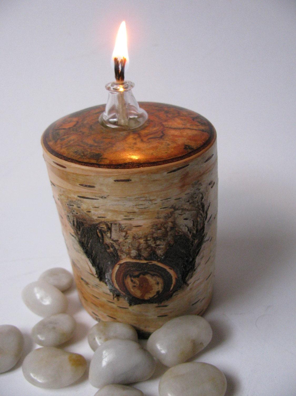 Wood oil lamp gorgeous spalted birch lamp holder by for Wooden kerosene lamp holder