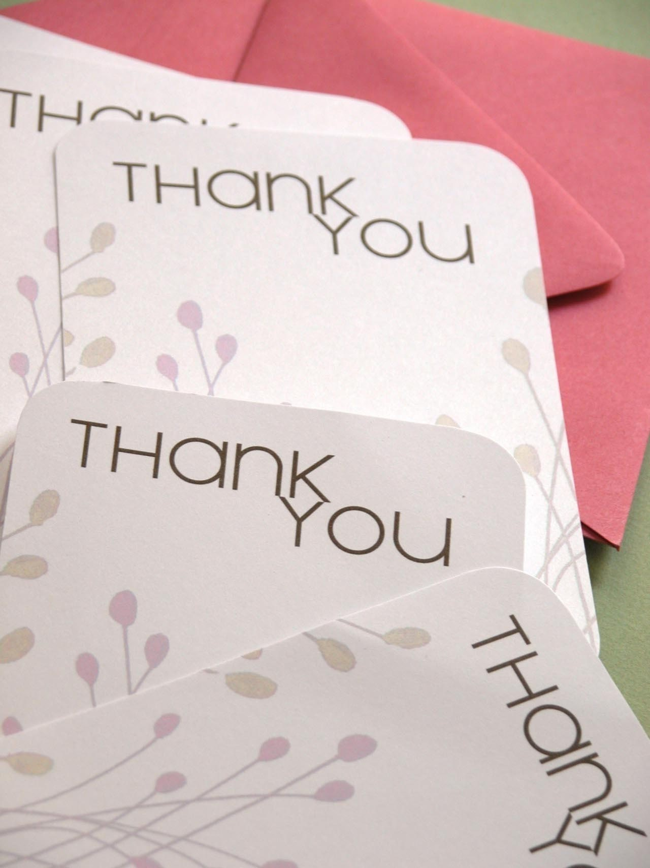 Set of 6 Thank You Cards with Strawberry Envelopes